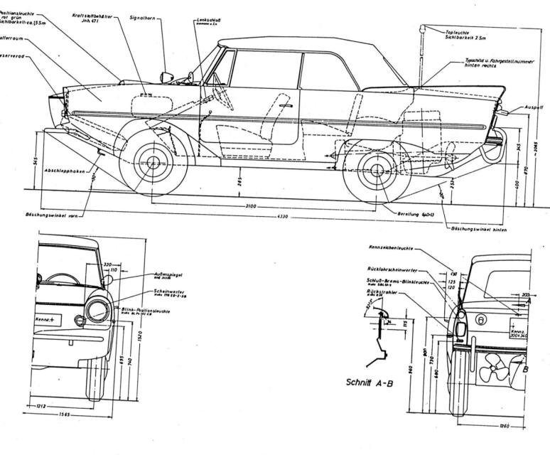 amphicar tech amphicar dimensions these are in mm much easier to work than those old fashioned inch things